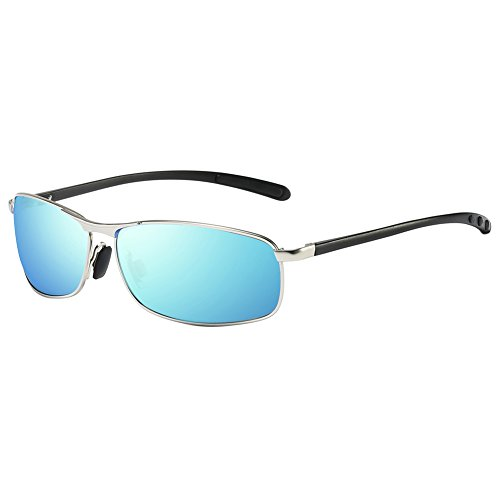 (ZHILE Rectangular Polarized Sunglasses Al-Mg Alloy Temple Spring Hinge UV400 (Silver, Blue mirrored))