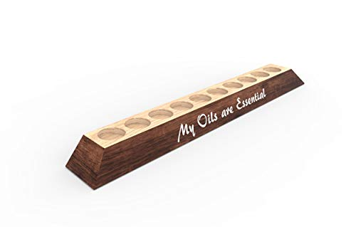 (Natural Wood Custom Made Essential Oils Holder Stand Rack, Display Shelf Storage for 10 (15ml) Bottles or Rollers (Red Mahogany, 10 Slots-Original))