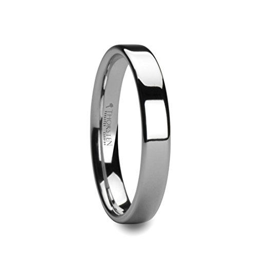 Flat Pipe - Thorsten STOCKTON Flat Pipe Cut White Tungsten Ring - 4mm Wide Band with Free Custom Engraving Personalized by from Roy Rose Jewelry