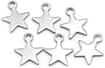 Vintageparts kleine Sterne als Anh/änger aus Edelstahl 6 St/ück Schmuck Schmuck selber Machen