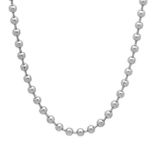 4mm Durable Stainless Steel Smooth Beaded Ball Chain Necklace, 30