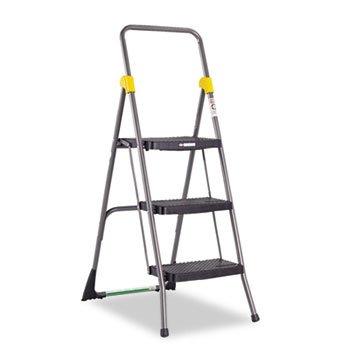 Cosco 11839GGO Commercial 3-Step Folding Stool, 300lb Cap, 20 1/2w x 32 5/8d x 52 1/8h, Gray