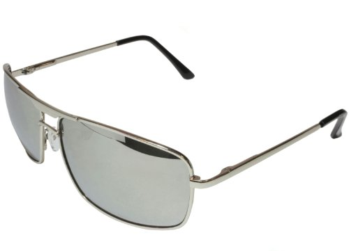 G&G Mirror Aviator Square Sunglasses Chrome Deluxe Spring - Square Aviator