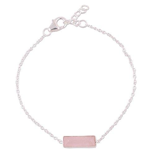 "NOVICA Rose Quartz .925 Sterling Silver Pendant Bracelet,7.25"", Elegant Prism"