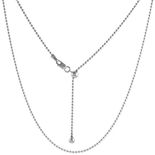 Sterling Silver Adjustable 1.5mm Bead Chain Necklace 1.5mm Nickel Free, 24 -