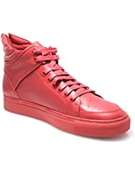 SMYTHE & DIGBY Mens All Red Monochrome Leather Sneakers