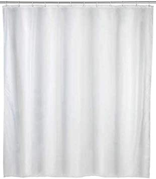 WENKO Cortina de Ducha (Impermeable, fácil de Limpiar, 12 Anillas, 240 x 180 cm), Color Blanco