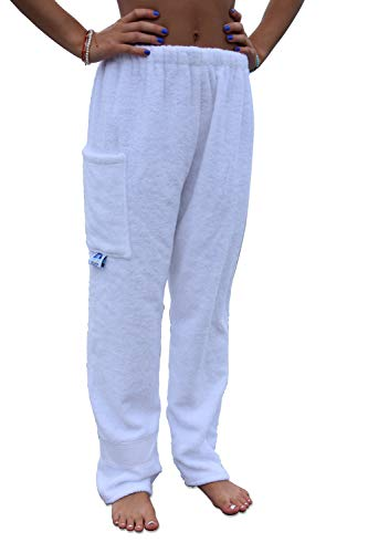 Towel Pants Towelwear Swimwear Resortwear - Cotton Terry Swim Sweat Pants - Solid White (Adult S) (Nautical Sweatpants)