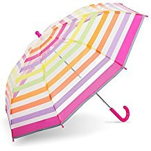 Shedrain Kid's Clear Striped Stick Umbrella with Reflective Piping Navy (Blue Umbrella Striped)