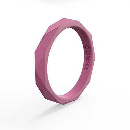 (Women's Rose Quartz Geo Stackable Silicone Ring Size 08)