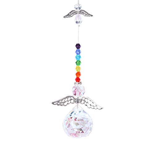 (Crystalsuncatcher Hanging Crystal Angel Suncatcher Chakra Rainbow Maker Guardian Angel Ornament Window Decor)