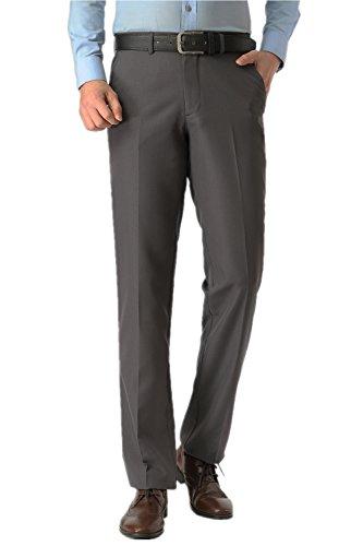 KKesquire Mens Grey Pants For Men Classic Fit Pants Grey Pants Men Flat Front Trousers 007A-31 (Grey Flat Trousers Front)
