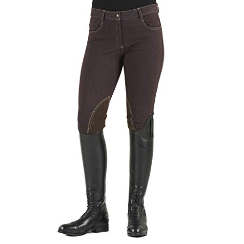 Ovation Women's Euro Melange Zip Front Knee Patch Cotton Breeches, Brown, 34 Regular