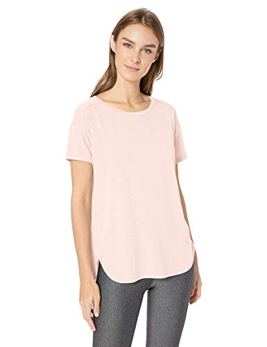 Amazon Essentials Women's Studio Relaxed-Fit Lightweight Crewneck T-Shirt, -light pink, Small (Knit T-shirt Crewneck)