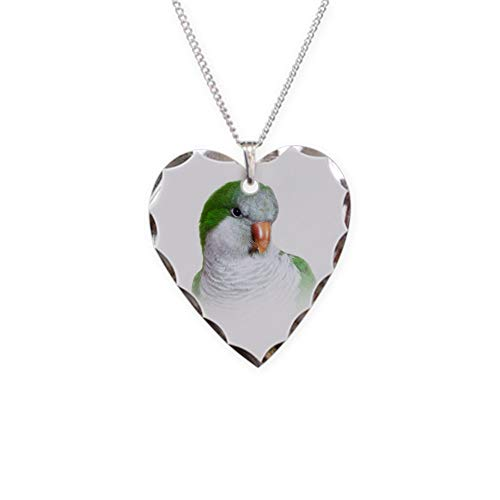 CafePress Green Quaker Parrot Charm Necklace with Heart Pendant