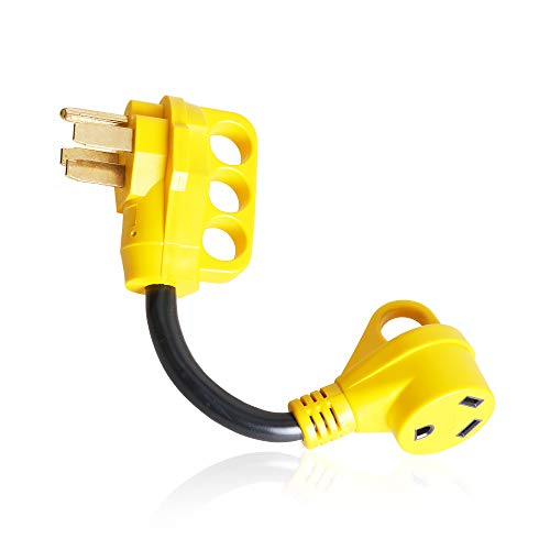Epicord Heavy Duty RV Adapter 50 AMP Male To 30 AMP Female Dogbone Power Cord With Handles Connector, 12Inch, Yellow by EPICORD