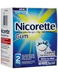 - Nicorette OTC Stop Smoking Nicotine Gum, 2mg-White Ice Mint-160 ct. (Quantity of 1)