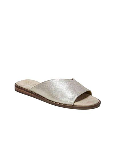- Franco Sarto Womens Riviera Leather Open Toe Casual Slide, Platino Le, Size 9.0