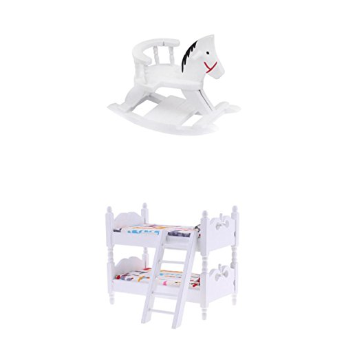 MagiDeal 2pcs 1/12 Dollhouse Miniature Wooden Bunk Bed & Rocking Horse Set Furniture Accessory
