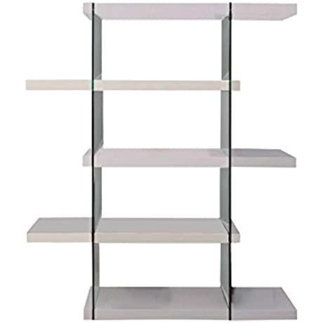 Casabianca Furniture Il Vetro Collection Lacquer Bookcase 55 By 13 By 71 White