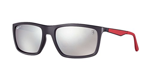 Ray-Ban Men's 0rb4228mf602h258plastic Man Polarized Iridium Rectangular Sunglasses, Matte Black, 58 - Ferrari Matte