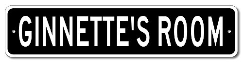 "GINNETTE'S ROOM - Kids room sign, Ginnette Room Aluminum door sign for Girls - 9""x36"" Quality Aluminum Sign"