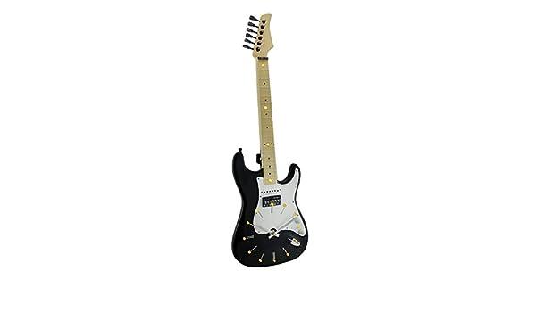 Resina Reloj de pared relojes cuerdas de tiempo Negro & Blanco 16 LED de pared para guitarra eléctrica 21 inch 7 x 21 x 2 cm Negro Modelo # 77552: ...