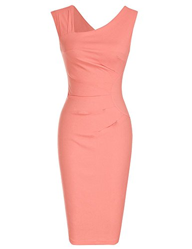 Blend Sheath Dress - BubbleKiss Retro Vintage 1950S Style Asymmetric Neck Business Pencil Sheath Dress Sleeveless Slim Plain Blend Bodycon Midi