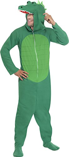Smiffy's Men's Crocodile Costume All In One with Hood, Green, Large