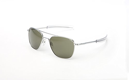 Randolph Aviator Square Sunglasses, 55, Matte Chrome, Bayonet, Gray Lenses