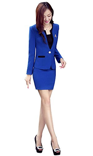 Kangqifen Women's Long Sleeve Business Offcie Suit Skirt Set (Small, Royal Blue) by Kangqifen (Image #1)