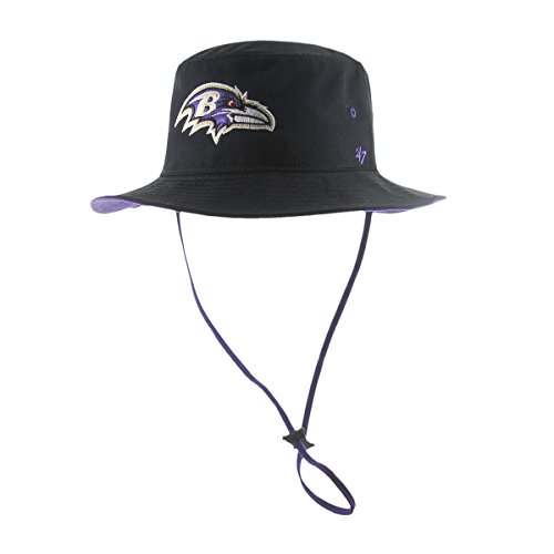 Baltimore Ravens Bucket (NFL Baltimore Ravens '47 Kirby Bucket Hat with Chin Strap, One Size Fits Most, Black)