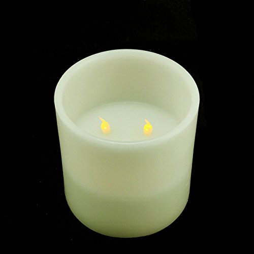 """6"""" Ivory Battery Operated Flameless LED Lighted 3-Wick Fl..."""