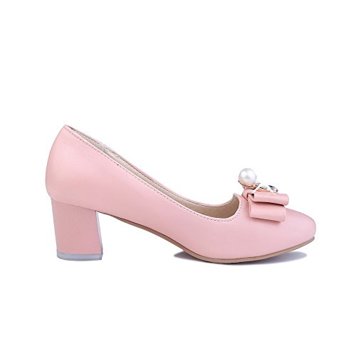 Pink Pumps Toe Closed Solid On Kitten AllhqFashion Womens Round Pull Shoes Heels qCAA1T