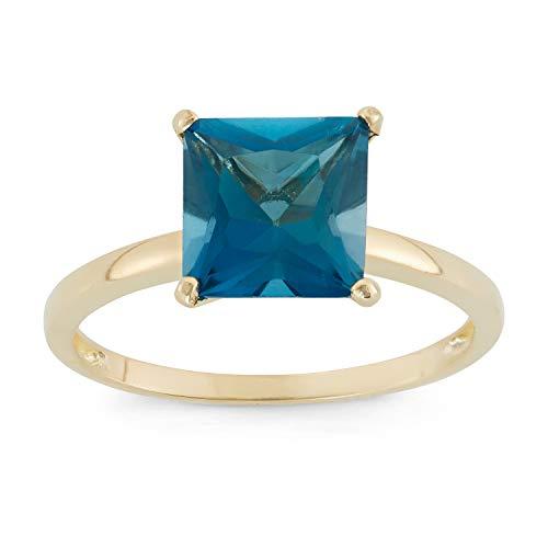 Celebration Moments London Blue Topaz Square Shape Ring in 10K Gold, 8mm - Size 10