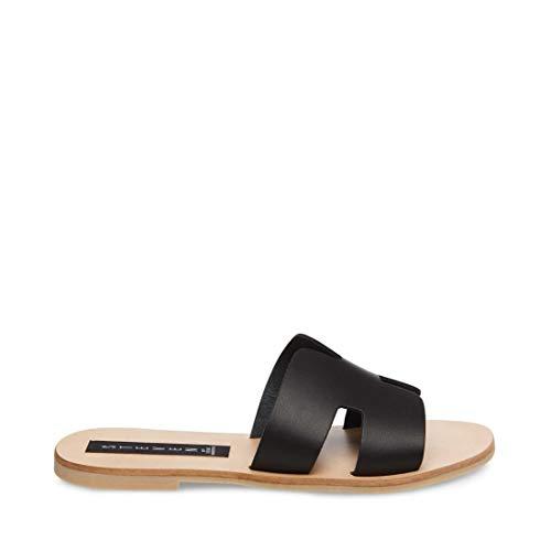 STEVEN by Steve Madden Women's Greece Flat Sandal, Black Leather, 7.5 M US