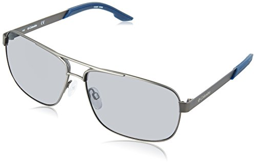 (Columbia Men's Trails Edge Aviator Sunglasses, Satin Gun, 61 mm)