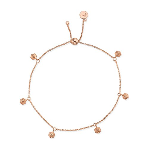 CHARLIZE GADBOIS Sterling Silver Hexagon Chain Drop Bracelet for Women, Rose Gold Plated, 16'' by Gadbois Jewelry