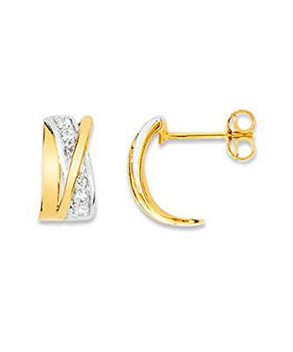 OR by Stauffer - Boucles d'oreilles or bicolore 375/1000, oxydes de zirconium by Stauffer