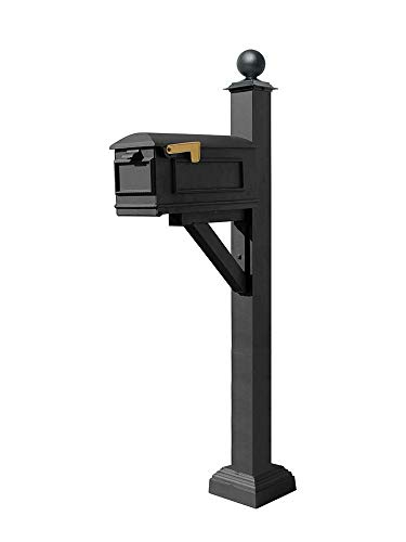 (Qualarc WPD-SC2-S4-LMC-BL Westhaven Cast Aluminum Post Mount System with Lewiston Mailbox, Square Collar and Large Ball Finial, Ships in 2 Boxes, Black)