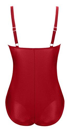 Aixy Mujer Vintage 1950 Retro Traje de Baño de una Pieza Halter Strap Monokini Vino rojo