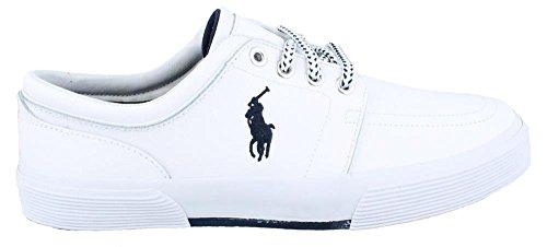 Polo Ralph Lauren Mens Faxon Pelle Moda Sneaker Bianco Sportivo In Pelle