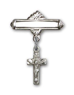 スターリングシルバー赤ちゃんバッジwith十字架チャームand Polishedバッジピン   B00CDATGZK