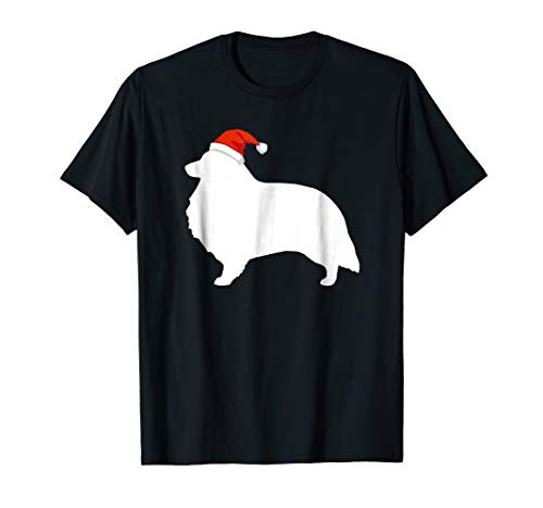 (Sheltie Shetland Sheepdog Santa Hat Christmas Dog T-Shirt)