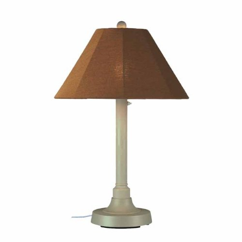 Patio Living Concepts San Juan 34 in. Outdoor Bisque Table Lamp with Teak Shade (Lamp Bisque Outdoor Table)