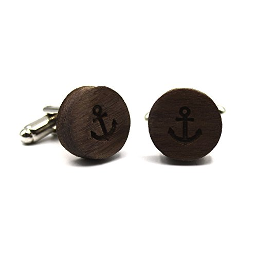Wooden cufflinks Anchor. Fashion collection: Wedding & events. Navy style engraved design. Original gift