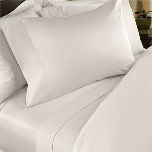 Egyptian Bedding 300-Thread-Count Egyptian Cotton 300TC Sheet Set, California King, Ivory Solid 300 TC ()