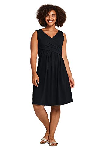 (Lands' End Women's Plus Size Wrap Front Fit and Flare Dress Knee Length Black)