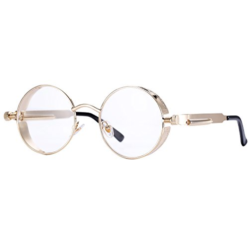 Pro Acme Gothic Steampunk Sunglasses for Men Women Metal Frame Round Lens Clear Lens