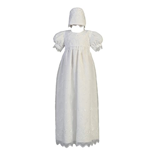 Lito Baby Girls White Embroidered Organza Long Christening Gown 6-12M
